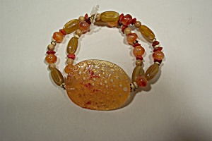 Butterscotch and Multi-Colored Beaded Stretch Bracelet (Image1)