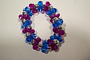 Blue And Red Triangular Shaped Beaded Stretch Bracelet (Image1)