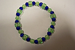 Green And Blue Beaded Fashion Stretch Bracelet