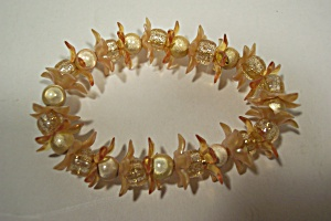 Amber And Off White Colored  Fashion Stretch Bracelet (Image1)
