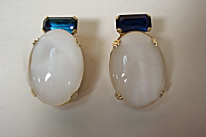 Vintage White Marquee & Blue Baguette Earrings