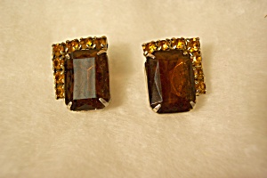 Amber/topaz Rhinestone Earrings