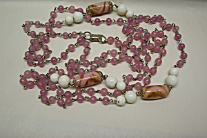 Coro Pink & White Glass Bead Necklace