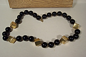Art Deco Black & Gold Bead Necklace