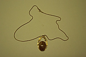 Trifari Gold Link Chain Necklace With Agate Drop