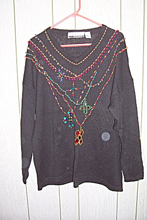Diana Marco Black Sweater With Multi Colored Decoration