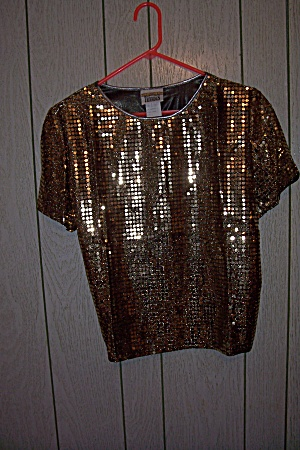 Trimmings Round Gold Sequin Decorated Pull Over