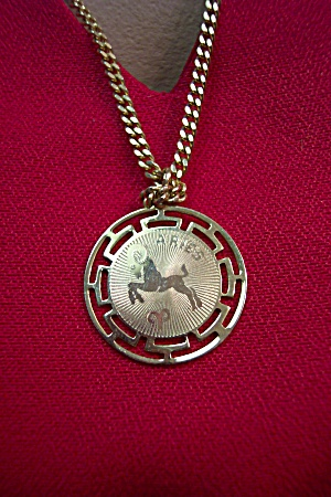 Gold Plated Aries Disk Necklace (Image1)