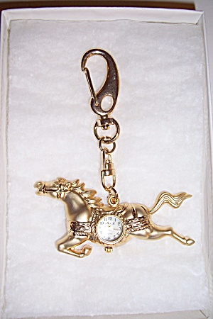 Gold Plated Horse Snap On Watch