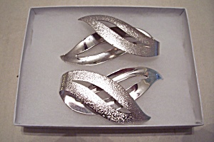 Sarah Coventry Leaf Design Silver Brooch & Earrings (Image1)