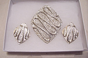 Sarah Coventry Silver Brooch & Earrings Set (Image1)