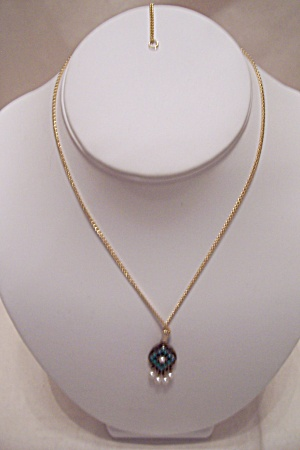 Sarah Coventry Gold Tone, Turquoise & Pearl Necklace (Image1)