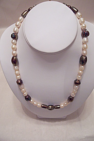 Carnival Glass Bead & Faux Pearl Necklace (Image1)