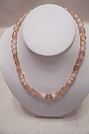 Pink & White Glass Bead Necklace (Image1)