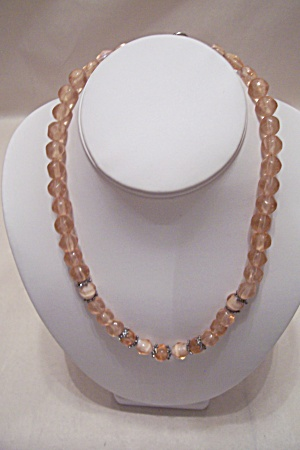 Pink And White Glass Bead Necklace 18 inches (Image1)
