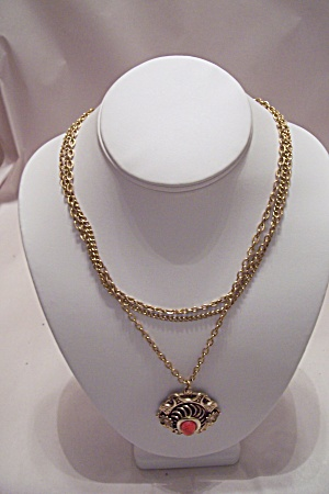Vintage 3-strand Gold-tone Link Necklace With Drop