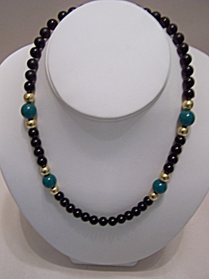 Black, Green & Gold Bead Necklace (Image1)