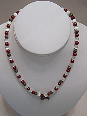 Red, White & Antiqued Bronze Bead Necklace (Image1)