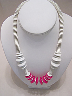 White & Pink Disc Necklace (Image1)