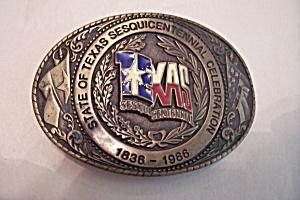 Texas Sesquincentennial Brass Belt Buckle (Image1)