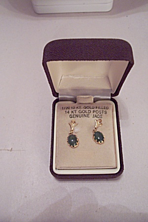 Elegant Gold Filled & Jade Earrings