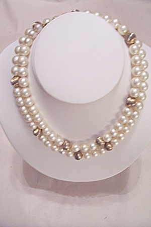 Faux Pearl & Goldtone Bead Necklace (Image1)