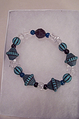 Turquoise & Clear Bead Stretch Bracelet