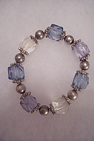 Faceted Bead & Silvertone Bead Stretch Bracelet