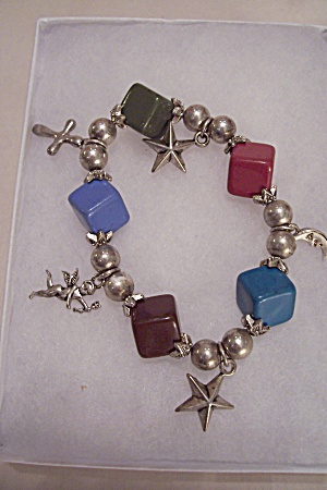 Multi-colored & Silvertone Beads Charm Bracelet