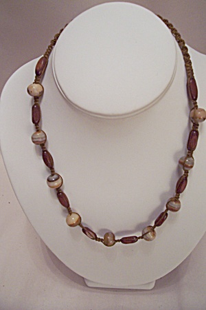 Twisted Thread Necklace With Wooden & Stone Beads