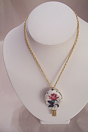 Vintage Goldtone Chain & Ceramic Drop Necklace (Image1)