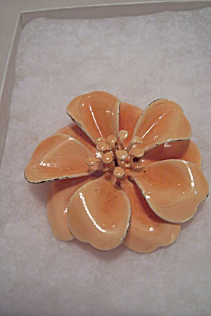 Vintage Enamel Orange Flower Brooch
