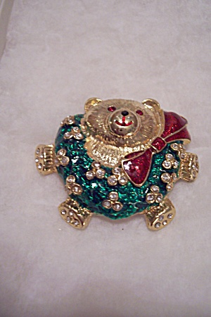 Christmas Rhinestone & Enamel Bear Brooch/pin