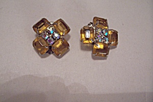 Vintage Amber & Aurora Borealis Rhinestone Earrings