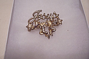 Goldtone Jesus Brooch With Rhinestones