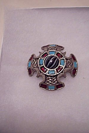 Silvertone Brooch With Turquoise & Red Stones