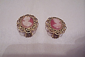 Cameo & Goldtone Filigree Clip-on Earrings
