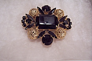 Black Stone & Goldtone Filigree Ball Brooch