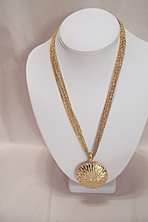 Trifari Six Strand Goldplated Chain And Disc Necklace