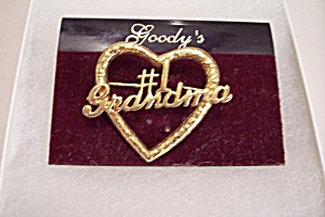 Goldtone Heart Shaped #1 Grandma Pin
