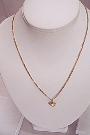 Goldtone Chain Necklace With Heart & Pearl Drop
