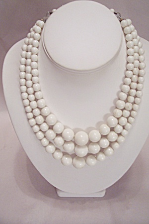 Hong Kong 3-strand White Bead Necklace