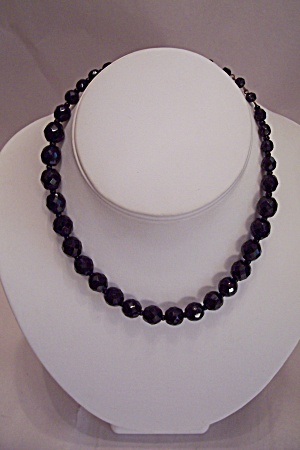 West Germany Black Faceted Glass Bead Necklace (Image1)