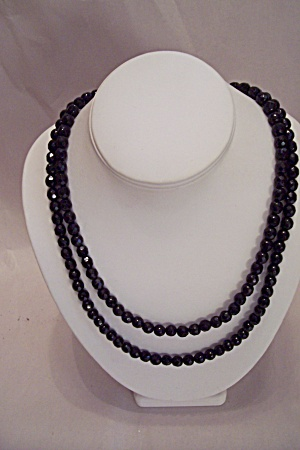 Two Or Three Strand Black Faceted Glass Bead Necklace