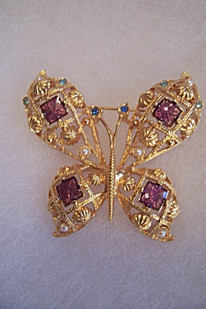 Gold Plated & Rhinestone Butterfly Brooch/pin