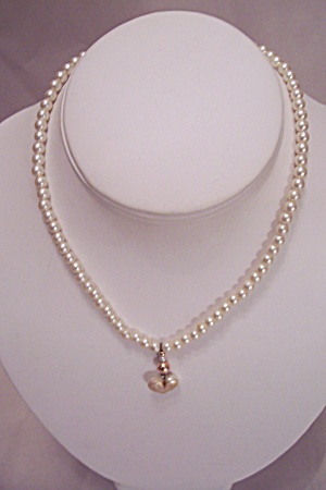 Simulated Pearl Necklace With Heart Drop