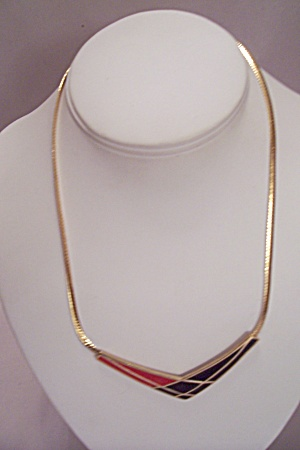 AVON Gold Plated Fine Chain Necklace With Enamel Drop (Image1)