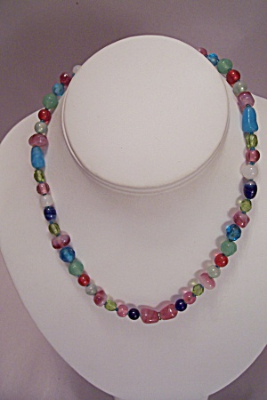 Glass Bead & Stone Necklace