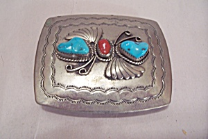 Men's Nickel Silver & Turquoise Stones Belt Buckle