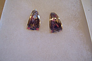 Abstract Enamel & Goldtone Stud Earrings